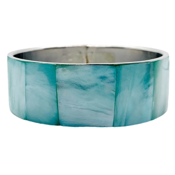INLAY GREEK TURQUOISE MOTHER OF PEARL ARM BANGLE
